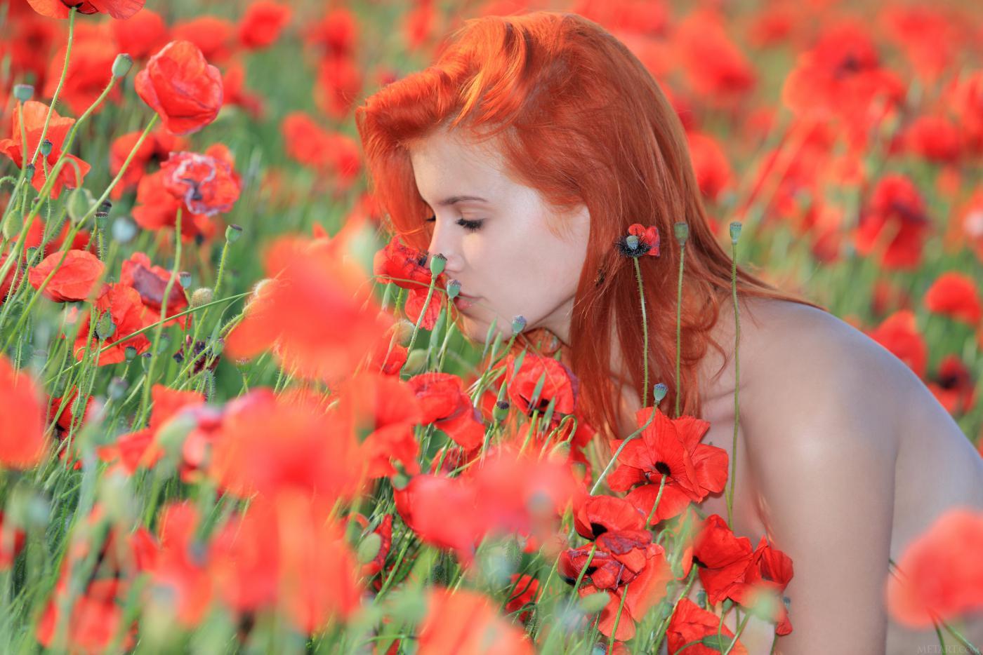Красивое голое представление в исполнении рыжей лисички Violla A, которая проводит время на цветущем лугу